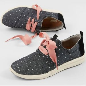 Toms Del Ray Black Dot Chambray Lace-Up Sneakers